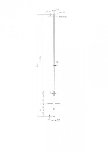 Conischer Stahlmast Zopf D=76 L=7m