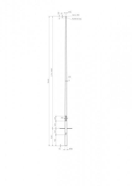 Conischer Stahlmast Zopf D=76 L=9m