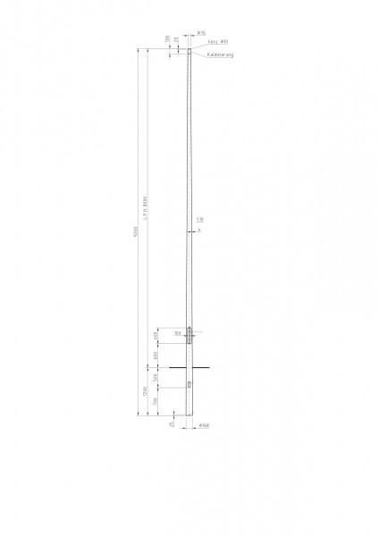 Conischer Stahlmast Zopf D=76 L=8m
