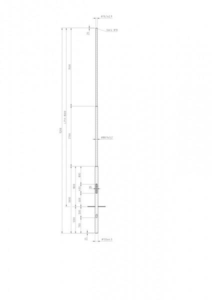 Zylindrisch Abgesetzter Stahlmast Zopf D=76 L=8m