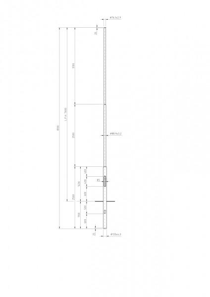 Zylindrisch Abgesetzter Stahlmast Zopf D=76 L=7m