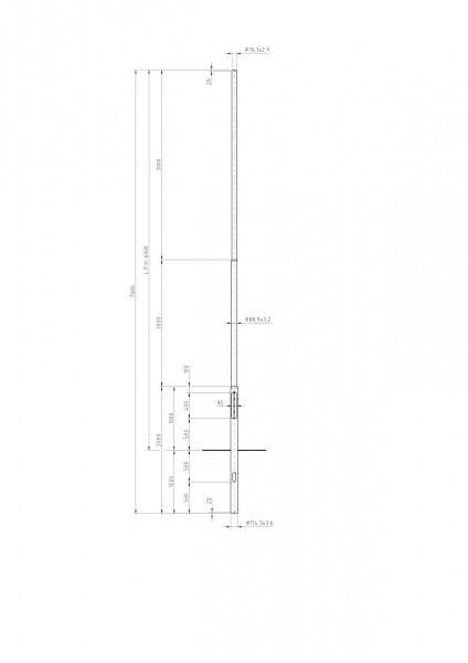 Zylindrisch Abgesetzter Stahlmast Zopf D=76 L=6m